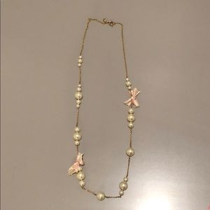 J Crew Faux Pearl Bow Necklace - EUC